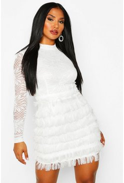 Womens White Lace Fringe High Neck Mini Dress