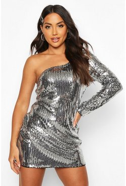 Black Sequin One Shoulder Mini Dress