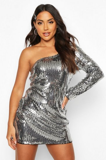 Womens Black Sequin One Shoulder Mini Dress