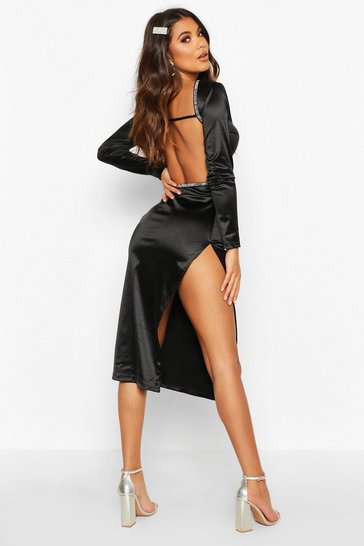 Black Diamonte Low Back Midaxi Dress