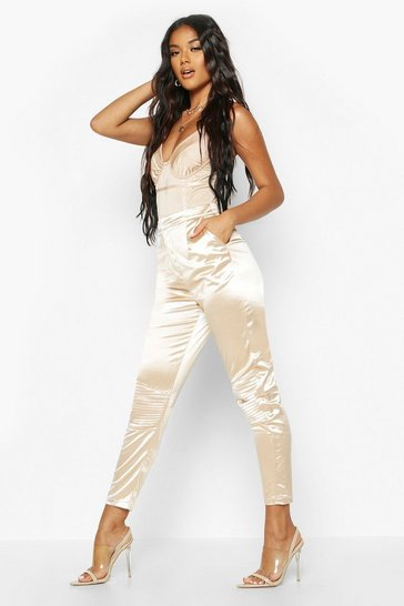 Womens Nude Stretch Satin Panelled Trouser
