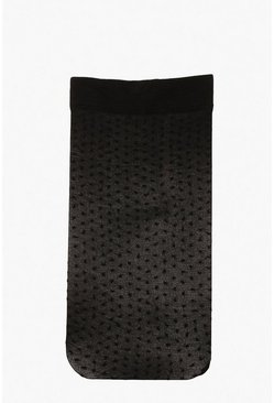 Dam Black Teeny Tiny Polka Dot Mesh Socks