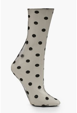 Dam Black Mesh Polka Dot Ankle Socks