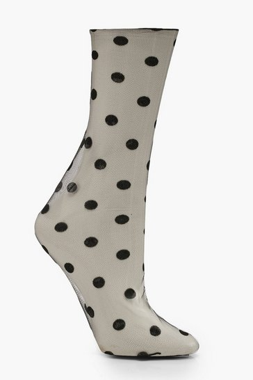 Womens Black Mesh Polka Dot Ankle Socks
