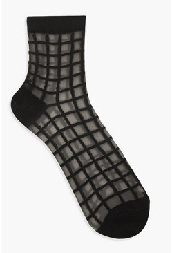 Mesh Check Ankle Socks, Black, FEMMES