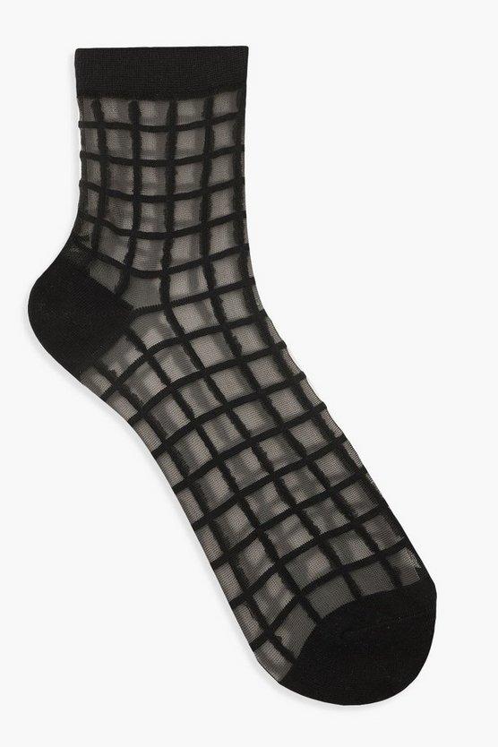 Mesh Check Ankle Socks