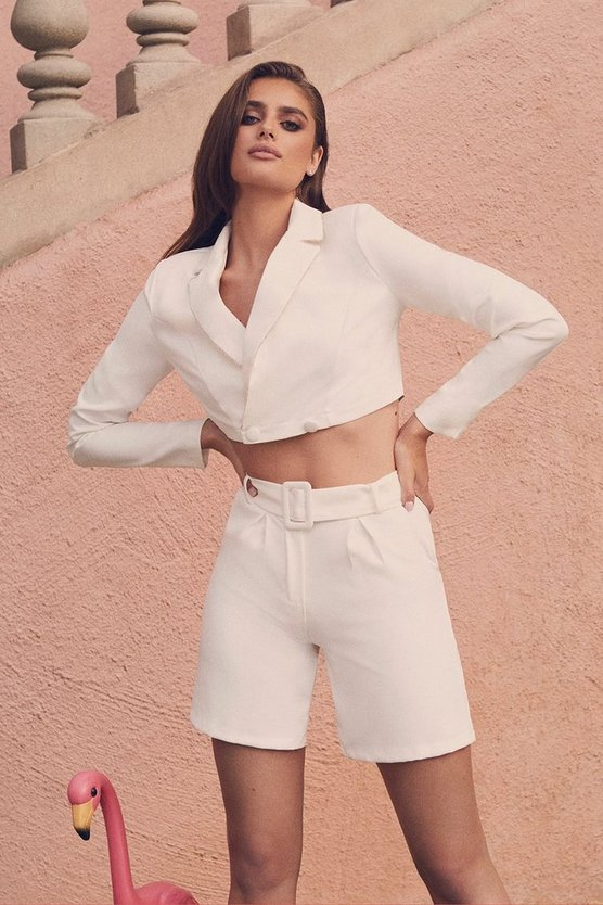 White Tailored Short
