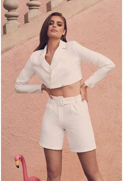 Womens White Tailored Short
