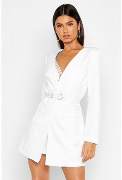 Ivory Diamante Buckle Belted Collarless Blazer