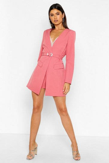 Womens Rose Diamante Buckle Belted Collarless Blazer