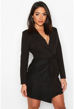 Black Wrap Front Lace Detail Blazer Dress