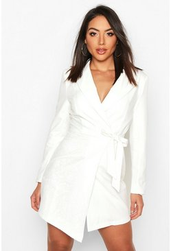 Ivory Wrap Front Lace Detail Blazer Dress