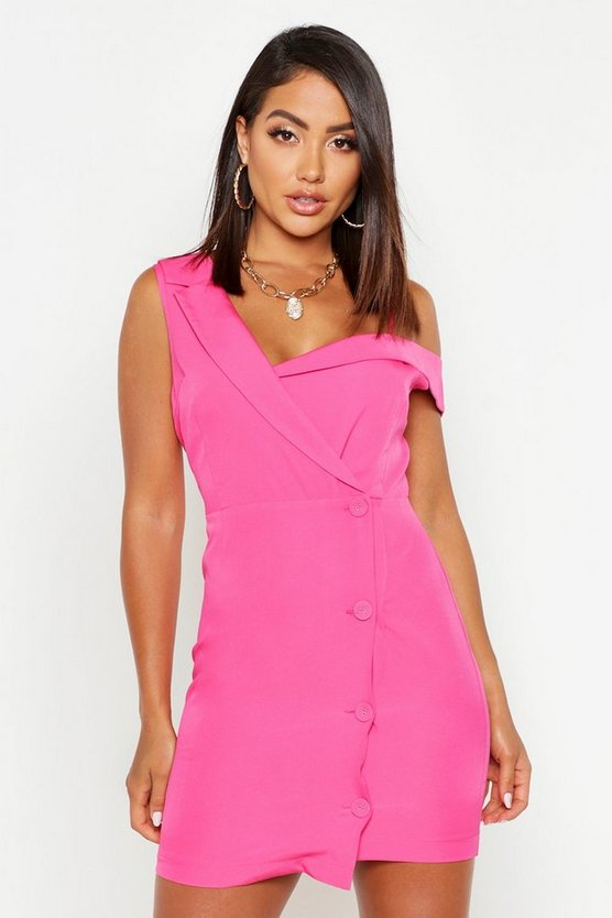 Womens Bright pink Asymmetric Sleeveless Button Detail Blazer Dress