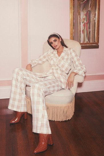 Womens Cream Wide Leg Checked Trouser