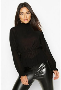 Womens Black High Neck Sheered Peplum Detail Blouse