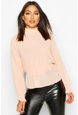 Blush High Neck Sheered Peplum Detail Blouse
