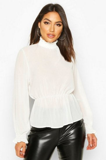Womens Ivory High Neck Sheered Peplum Detail Blouse