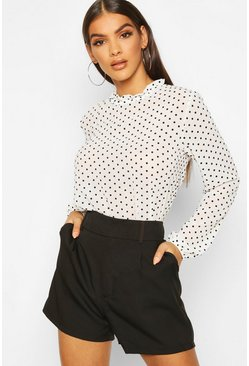 Womens White Flocked Polka Dot High Neck Blouse