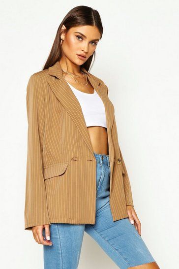 Womens Brown Relaxed Pinstripe Double Breasted Blazer