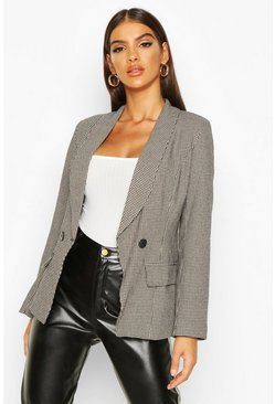 Womens Black Double Breasted Tonal Dogtooth Blazer