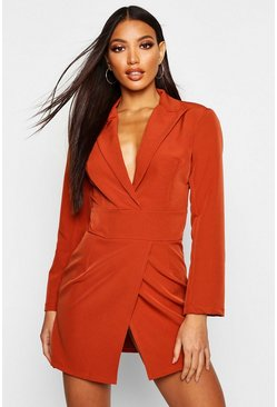 Womens Ginger Wrap Front Blazer Dress