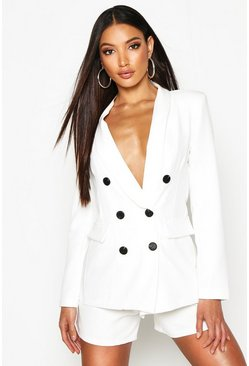 Womens Ivory Double Breasted Blazer
