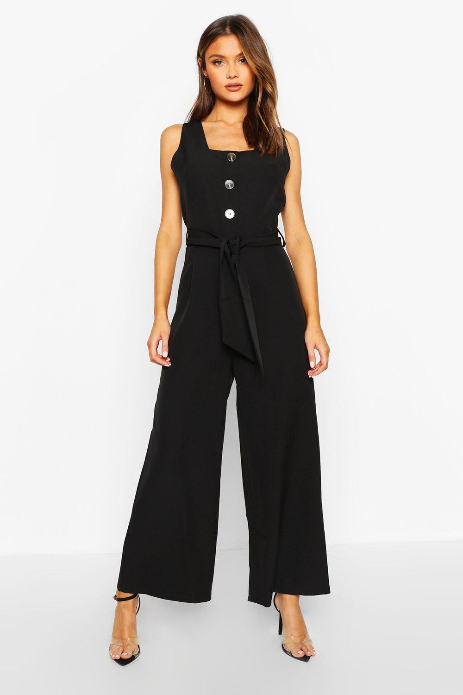 Купить со скидкой Приталенный комбинезон с широкими брюками без рукавов