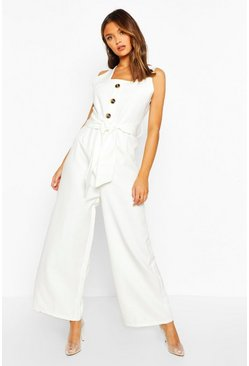 Womens Ecru Horn Button Sleeveless Wide Leg Tailored Jumpsuit