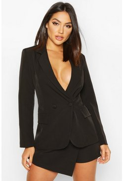 Black Double Breasted Long Line Blazer