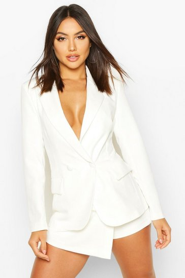 Womens Ivory Double Breasted Long Line Blazer