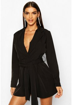 Black Belted Tailored Playsuit