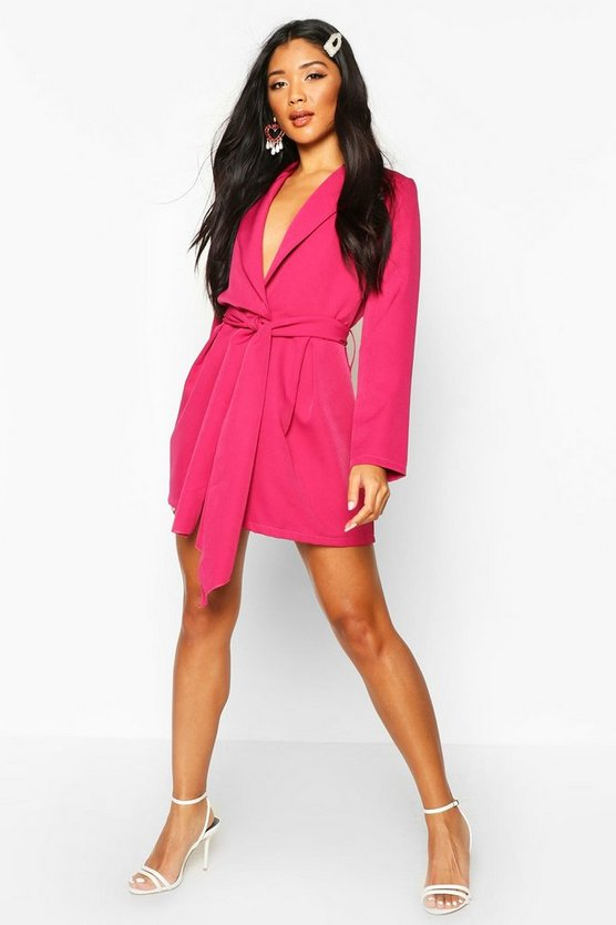 Hot pink Belted Tailored Playsuit