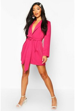 Womens Hot pink Belted Tailored Playsuit