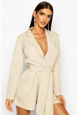 Womens Stone Belted Tailored Playsuit