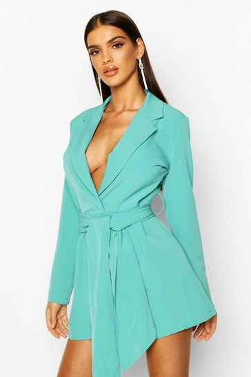 Womens Teal Belted Tailored Playsuit
