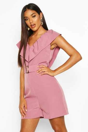 Womens Mauve Ruffle Front V Neck Playsuit