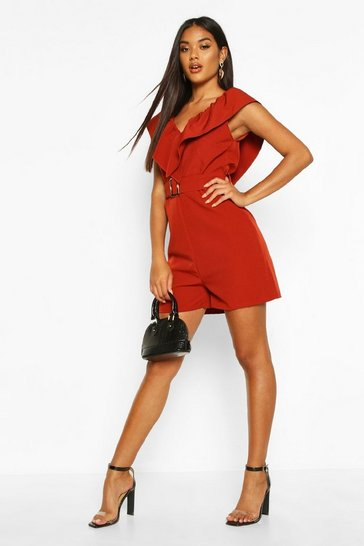 Womens Rust Ruffle Front V Neck Playsuit