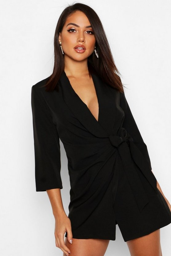Wrap Front Detail Blazer Dress