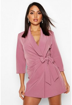 Womens Mauve Wrap Front Detail Blazer Dress