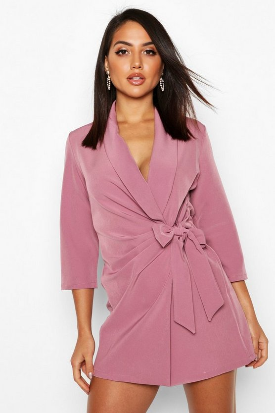 Wrap Front Detail Blazer Dress by Boohoo