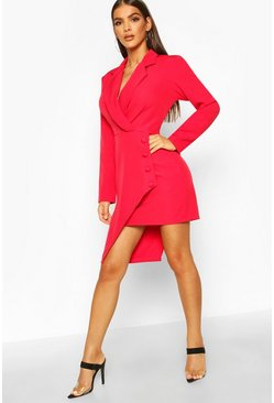Red Wrap Front Detail Blazer Dress