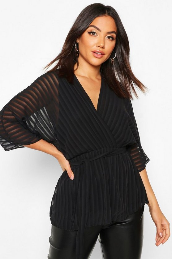 Womens Black Sheer Stripe Wrap Belted Blouse