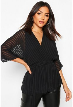 Black Sheer Stripe Wrap Belted Blouse