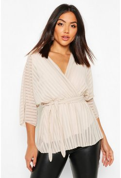 Womens Ecru Sheer Stripe Wrap Belted Blouse
