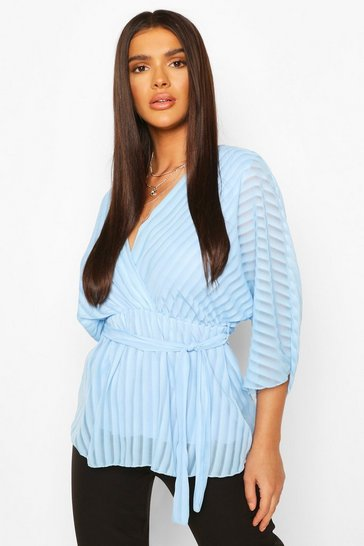 Sky Sheer Stripe Wrap Belted Blouse