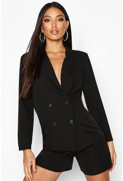 Womens Black Lightweight Double Breasted Blazer