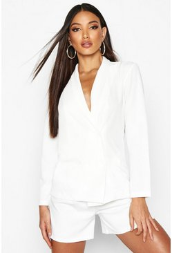 Ivory Lightweight Double Breasted Blazer