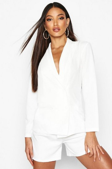 Womens Ivory Lightweight Double Breasted Blazer