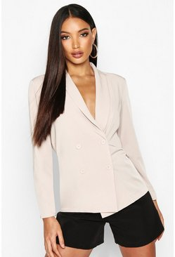 Womens Stone Lightweight Double Breasted Blazer