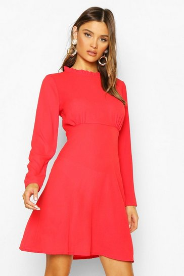 Womens Red High Neck Smock Dress